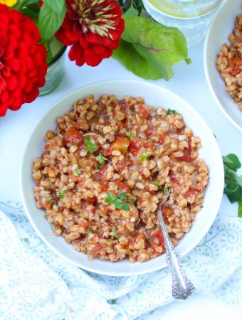 Baked Farro with Wine, Veggies and Herbs